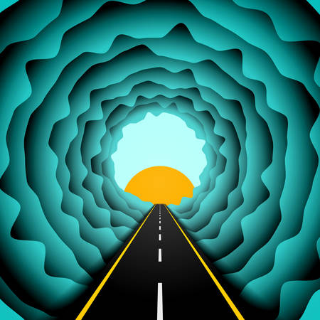 Road in the skies abstract concept. Vector illustrator of asphalt road or highway going into skies to the light and sun between the clouds. Colorful design background or template.
