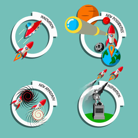 Rocket business flat art style vector set. Stock illustration of innovation, new approach, inspiration, new possibilities. Conceptual icon, banner, advertisement, presentation element. Stock Illustratie