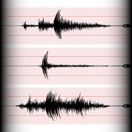 Analogous seismogram recording with a seismograph on a marked paper.