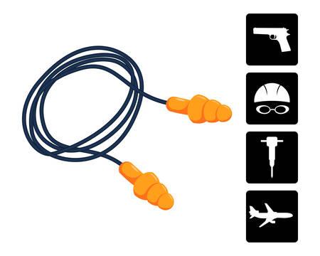 Ear plugs vector illustration. Illustration