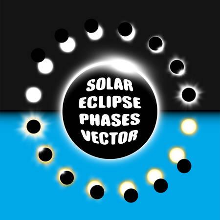 Full and partial solar eclipse vector design elements set. Vectores