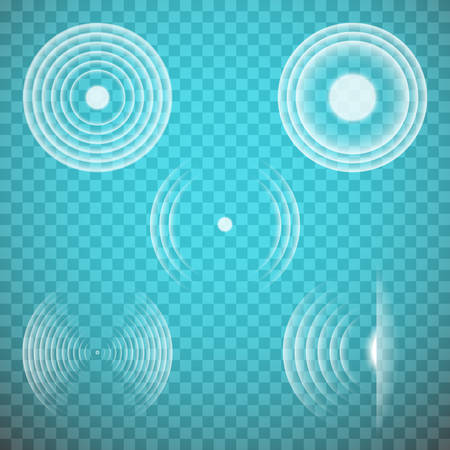 Vector set of isolated transparent sound waves design elements. Sonic resonance, radio frequency, energy radiation, vibration, sound emitting themed illustrations, abstract icons or symbols.