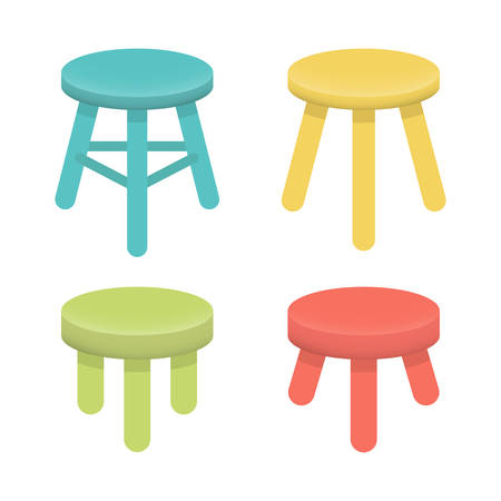 Different stool with three legs vector set. Colorful three legged stool, isolated on white, illustration collection. Stool icons or design elements.