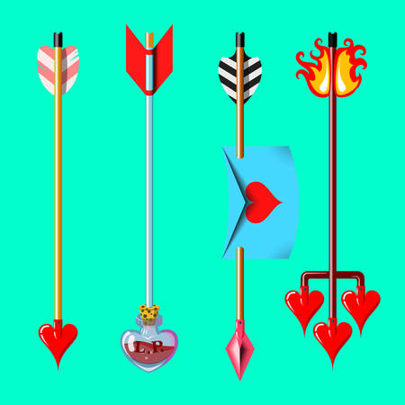 Cupid's arrows, isolated on monochrome background. Four different valentine's day designs. Love arrow. Love potion arrow. Love letter arrow. Hell love arrow. Cupid weapons vector stock illustration.