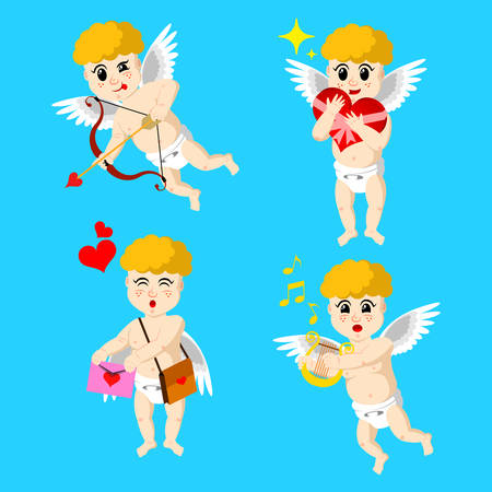 Cupid drawn in four roles isolated on monochrome background. Cupid aiming his bow. Cupid giving love letter. Cupid playing love music. Cupid holding valentines day gift. Vector illustration.