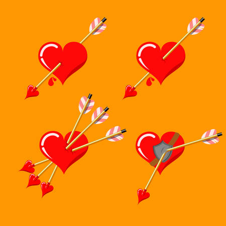 Four variants of valentine's day love arrow pierced heart isolated on monochrome background. Heart triple hit with arrow. Hearts hit with cupid's arrows. Valentine's day stock vector illustration.