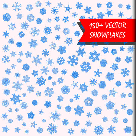 Vector snowflakes mega set. 150  simple, isolated snowflakes illustrations. Monochrome snow background. Every snowflake is unique. Heavy snowfall.