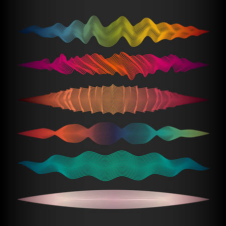 Collection of vector wave line design elements. Colorful abstract illustration for website, package, store, product design.