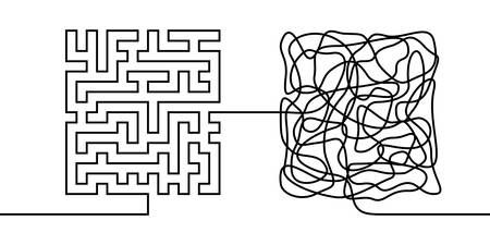 Ligne continue dessinant un concept de chaos et d'ordre, métaphore de la théorie du chaos illustration vectorielle minimaliste d'une seule ligne Vecteurs