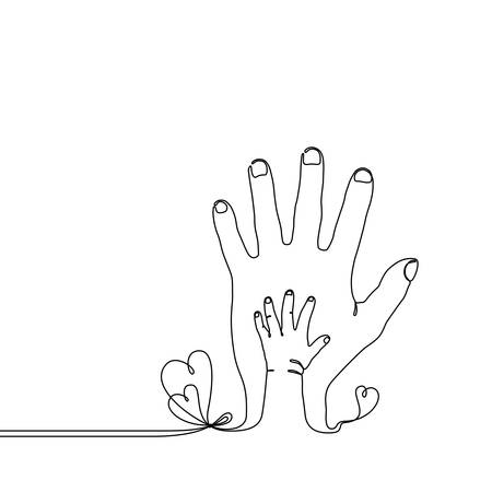 Continuous line drawing of a baby child hand on the parents hand, simple single line draw metaphor of the happy family, adult and youth, fathers love or a new generation
