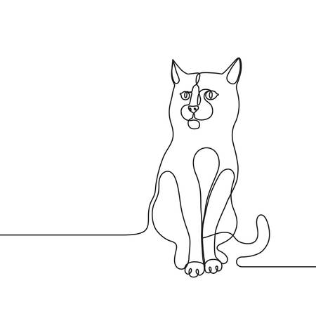 Continuous line drawing for a cat single line concept for veterinary service, pet shops advertisement, animal adoption, grooming salon, pet care products Stock Illustratie