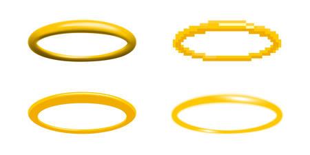 illustration vectorielle de halo doré dans quatre styles différents élément de conception de bague ange nimbus, auréole, gloire ou gloriole Vecteurs
