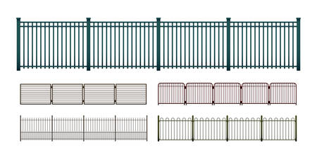 Painted metal fences isolated on white, vector set of various simple modular horizontally seamless fencing elements, a flat art illustration