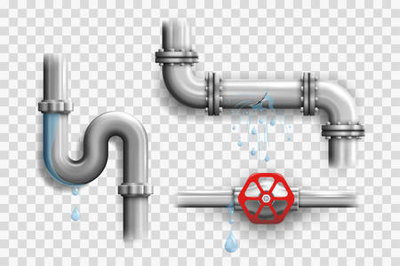 Various broken metal pipes and leaking pipeline elements isolated on a transparency grid a realistic vector illustrations set