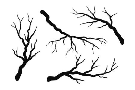 Tree branch without leaves silhouettes set isolated on white, bare branches vector illustration