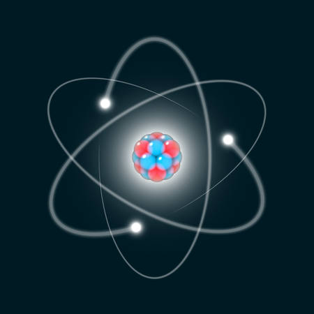 Atom icon, 3D like abstract atom structure model with electrons orbiting the nucleus which composed of neutrons and protons, nuclear science design element Vector illustration.