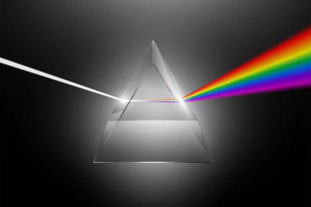 Dispersione della luce visibile in uno spettro su un prisma di vetro, illustrazione realistica di vettore di effetto fisico