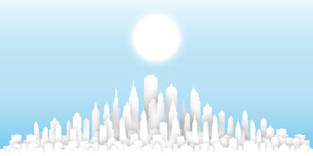 White paper cut sunny day Citysearch template, abstract urban landscape, big city skyline concept composed of building and skyscraper silhouettes