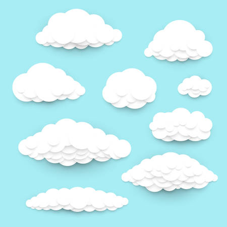 Paper cut art clouds set, various vector clouds in a vivid blue sky, simple, abstract or cartoon illustrations good as design elements or icons Illusztráció