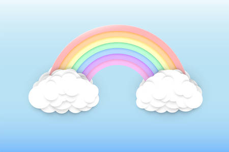 Pastel colors rainbow and clouds on a light blue sky background, colorful rainbow arc in a clear summer sky, paper cut or cartoon style vector illustration