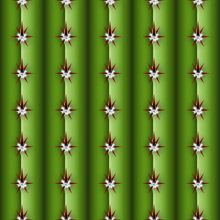 Cactus stem seamless pattern, Cereus alike plant texture with spines, areola and ribs, realistic colorful cacti background concept, common Cactaceae family stem structure as a design element