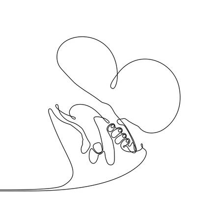 Continuous line drawing of a baby child hand holding parent by the finger, simple single line draw metaphor of the happy family and childhood, adult and youth holding hands, parental care, adoption