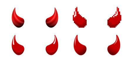 Set of devil horns vector illustration