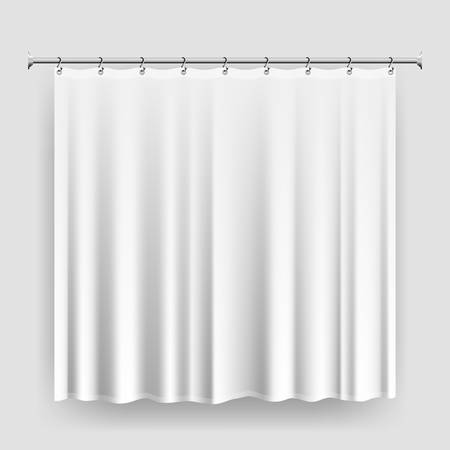 Blank shower curtain template or mock-up, realistic white curtain with steel hooks and rod, waterproof bathroom curtain, editable shower interior accessory vector illustration 免版税图像 - 102697364