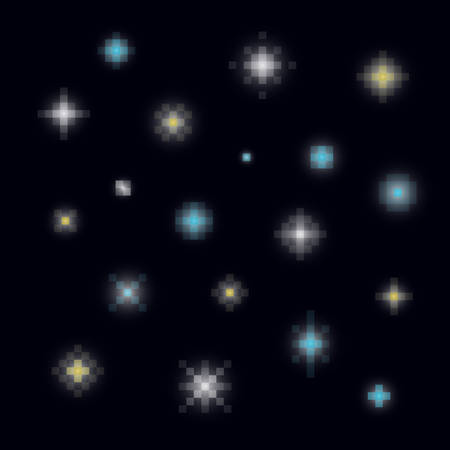 A set of various pixel art or 8-bit style night stars Illusztráció