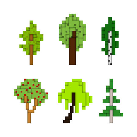 Various pixel art trees isolated on white, low pixel 8-bit style forest tree illustrations, construction set like or block shaped vector design elements with 3D effect