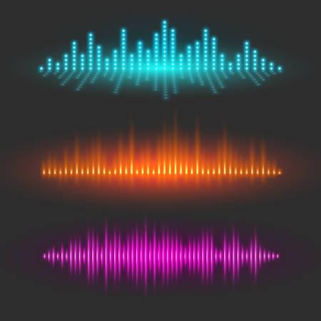 Sound wave graphical depiction, abstract waveforms or digital equalizer, sound pulses or musical rhythm illustrations, set of vector design elements
