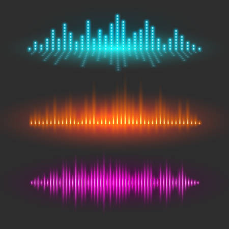 Sound wave graphical depiction, abstract waveforms or digital equalizer, sound pulses or musical rhythm illustrations, set of vector design elements