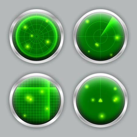 Various radar screen, locator, detector, sonar or scanner indication panel, abstract radar vector icon set, searching, location or navigation concept Stock Illustratie