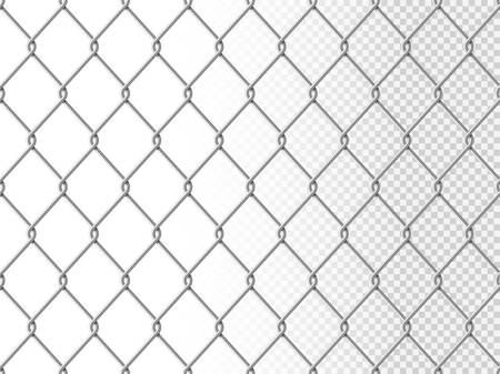 Realistic chain link seamless pattern, chain-link fencing texture isolated on transparency background, metal wire mesh fence design element vector illustration