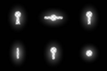 Realistic blurred dark keyhole design element set, various overlay templates with glowing key hole transparent aperture, abstract secret, opportunity or spying graphical motive