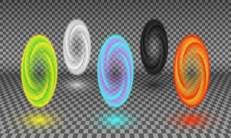 Various color portals isolated on transparency background. Magical tunnel or fictional wormhole, space and time portal effect, teleportation energy spiral design element. Illustration