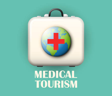 Medical tourism concept, a first aid kit or doctors case with globe and red cross, foreign clinical treatment, global medicine icon or medical attention abroad design element