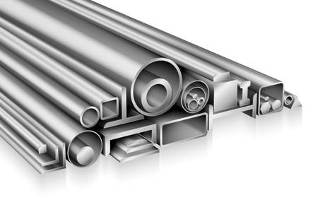 Structural steel profile realistic composition metal pipe, tube, bar, rod, rebar, channel, beam, stainless steel or aluminium for construction, cold or hot rolled iron metalworking products