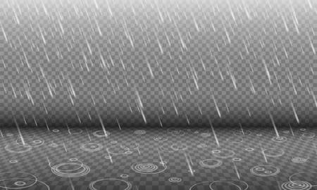 Rain with water ripples 3D effect isolated on transparency background, autumn rainfall, realistic heavy rain foreground with blurred drops and circle waves, rain design template or element Illustration