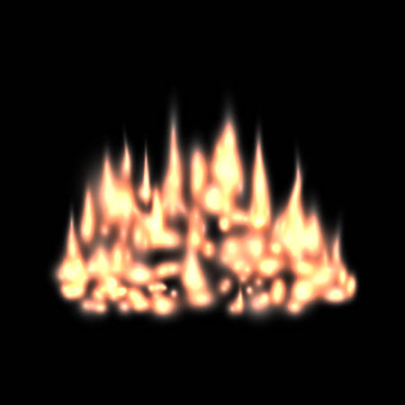 Blurred fire light effect, background fireplace with flames red-hot, ember or smoldering coals, dying campfire, glowing bonfire template with blur Illustration