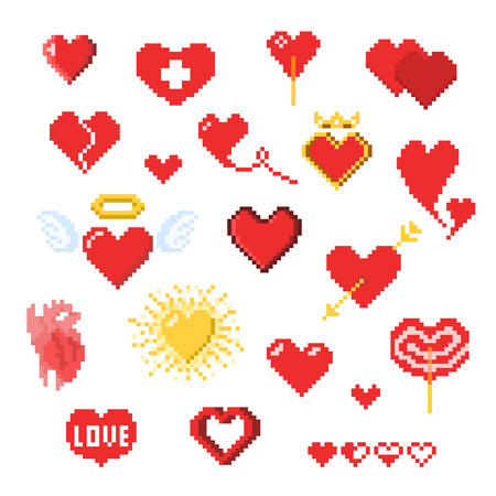 Various pixel heart icons isolated on white, Valentines day decor in pixel art style, heart-shaped retro game design elements a health, love or life symbol Illusztráció
