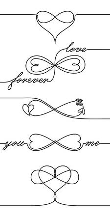 Single line drawing endless love icons, one line Valentines day holiday infinite love symbol, creative synthesis of infinity sign and heart shape in a line art style, forever lasting love concept