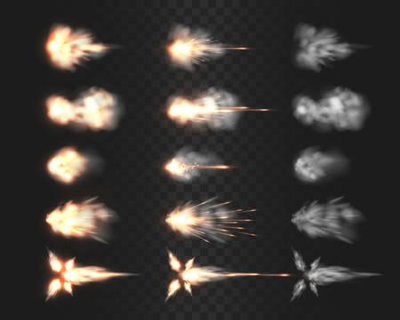 Feuerwaffen-Mündungsblitz-Spezialeffekte einzeln auf Transparenzgitter, verschiedene Rauchwolken, nachdem die Waffe abgefeuert wurde, realistische Vektorillustrationen, Gewehr-, Schrotflinte-, Pistolen- oder Pistolenschuss-Blitzsammlung Vektorgrafik
