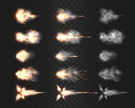 Muso di arma da fuoco flash effetti speciali isolati sulla griglia di trasparenza, varie nuvole di fumo dopo che la pistola è stata sparata un realistico illustrazioni vettoriali, fucile, fucile da caccia, pistola o raccolta di colpi di pistola Vettoriali