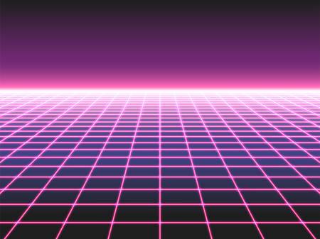 Fond de grille néon rétro futuriste, perspective de conception des années 80 paysage d'avion déformé composé de néons croisés ol faisceaux laser, synthwave ou illustration vectorielle de style vague rétro