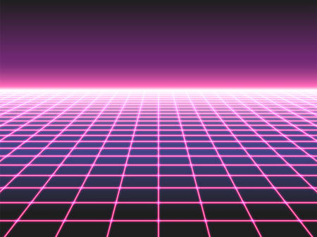 Retro futuristic neon grid background, 80s design perspective distorted plane landscape composed of crossed neon lights ol laser beams, synthwave or retro wave styled vector illustration Stockfoto - 124130624