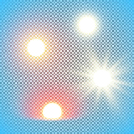 Realistic sun vector illustrations isolated on transparency grid, noon, morning, rising of evening sun universal design elements