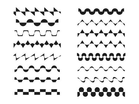 A set various zigzag patterns, wavy, sinusoidal or rickrack repeatable border lines,  horizontally seamless geometrical zig zag design elements