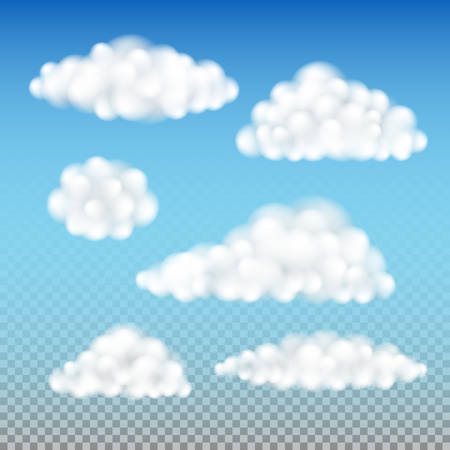 Fluffy clouds isolated, set of various cotton like clouds vector illustrations, realistic semitransparent overcast template elements