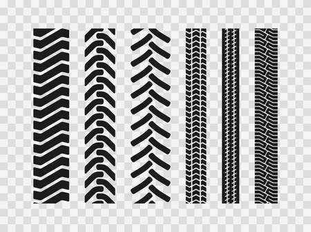 Heavy machinery tires track patterns, building of agricultural vehicles tires footprints,  industrial transport ground trace or marks textures as seamless loopable elements Vectores